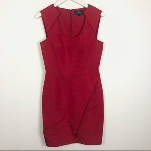 J. Mendel red structured scoop neck midi dress